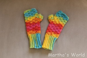 rainbow fingerless mittens 'Selena'
