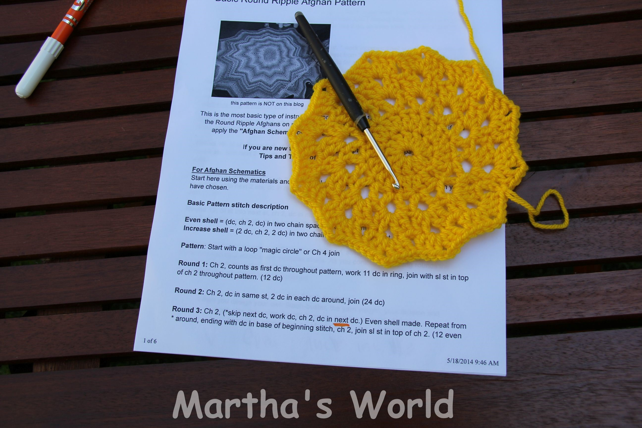 My First Round Ripple (Or How I crocheted Sunshine) | Martha\'s World